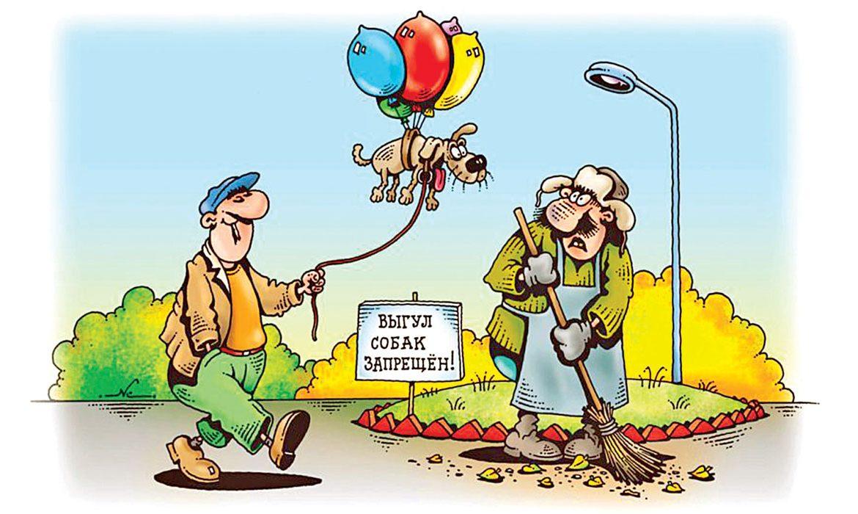 выгул собак, карикатура