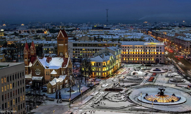 минск, зима, площадь независимости