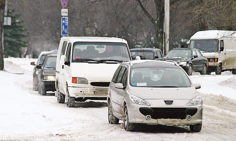 зима, город, машины